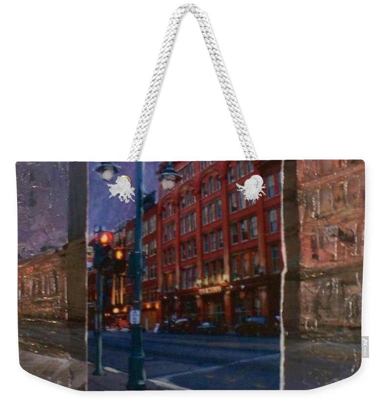 Ale House Weekender Tote Bag featuring the mixed media Ale House And Street Lamp by Anita Burgermeister