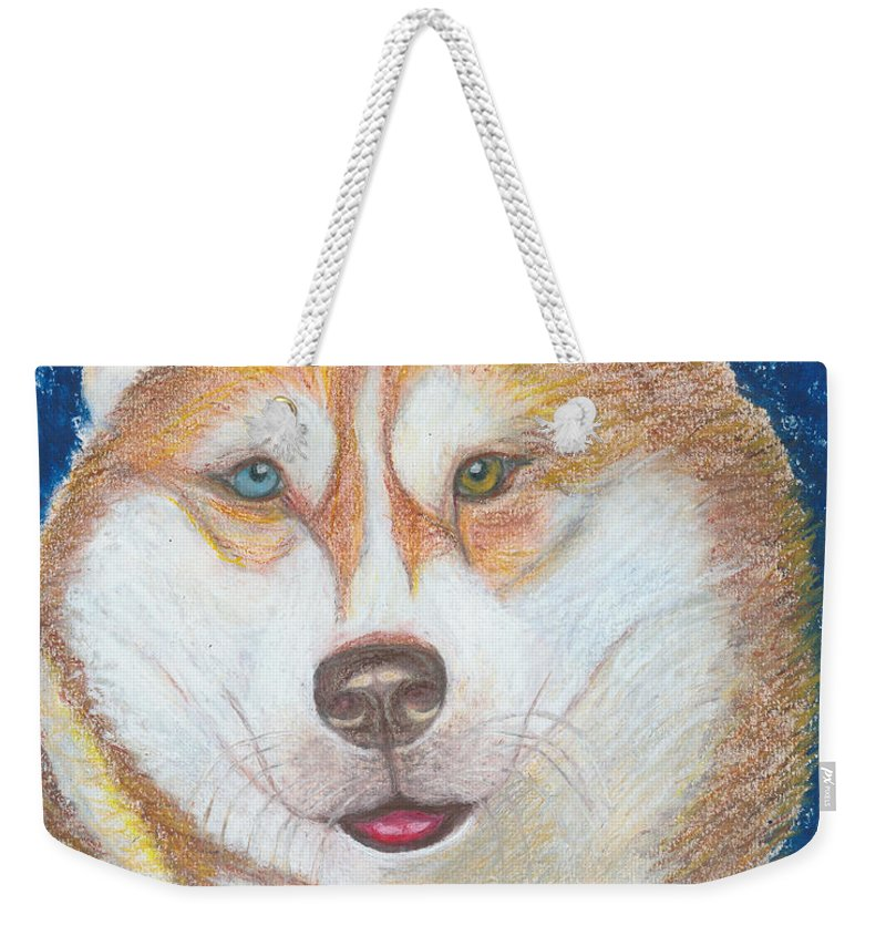 Drawing Weekender Tote Bag featuring the drawing Alek The Siberian Husky by Ania M Milo