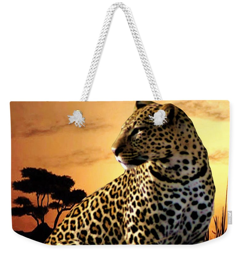 Leopard Weekender Tote Bag featuring the photograph Alert To Danger by Mike Henniger Marilyn Alexander