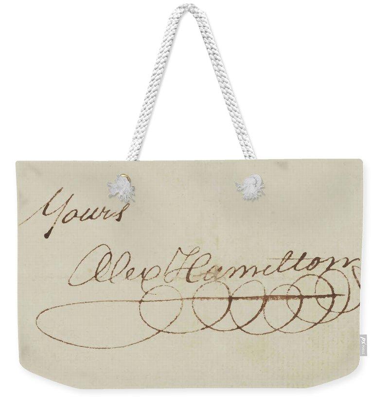 320d33e7e483 Hamilton Weekender Tote Bag featuring the digital art Alexander Hamilton  Signature by Daniel Hagerman