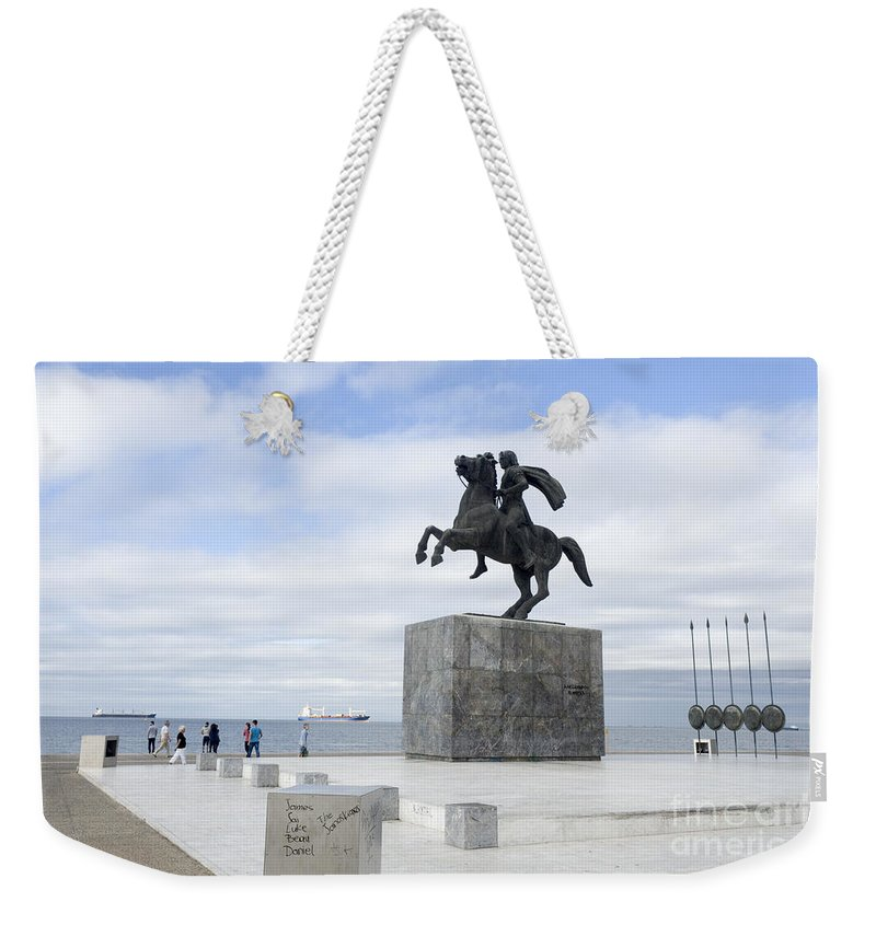 Thessaloniki Weekender Tote Bag featuring the photograph Alexander The Great, Thessaloniki, Greece by Moshe Torgovitsky