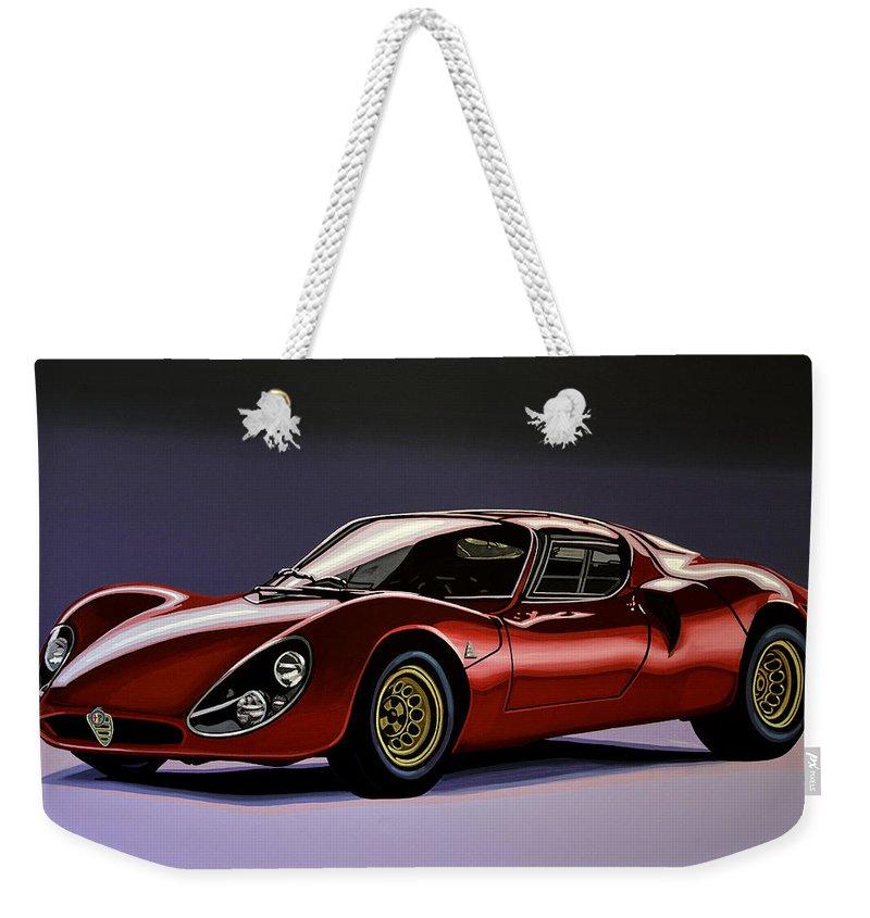 Alfa Romeo 33 Stradale Weekender Tote Bag featuring the painting Alfa Romeo 33 Stradale 1967 Painting by Paul Meijering