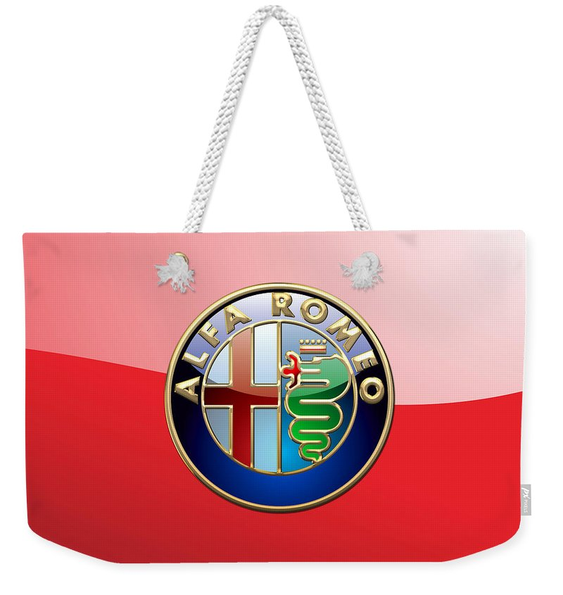 Wheels Of Fortune By Serge Averbukh Weekender Tote Bag featuring the photograph Alfa Romeo - 3d Badge on Red by Serge Averbukh