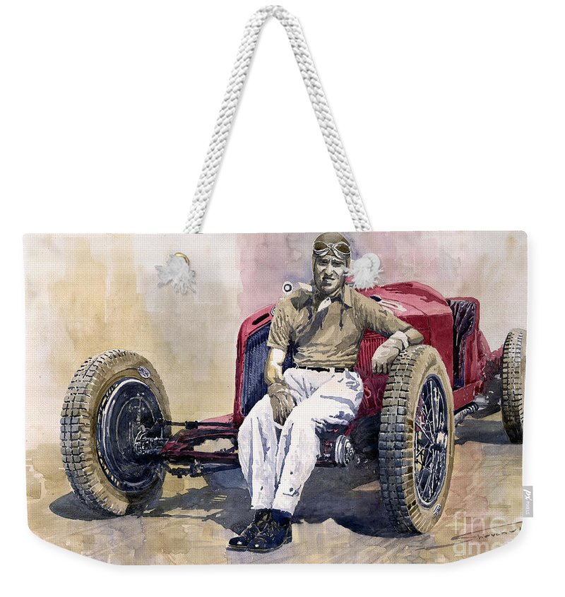 Watercolor Weekender Tote Bag featuring the painting Alfa Romeo Monza Tazio  Nuvolari 1932 by Yuriy Shevchuk 980a6da9898