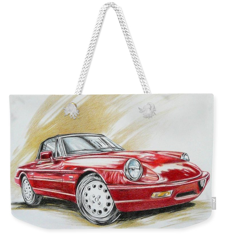 Alfa Romeo Weekender Tote Bag featuring the drawing Alfa Romeo Spider Duetto by Federico De muro