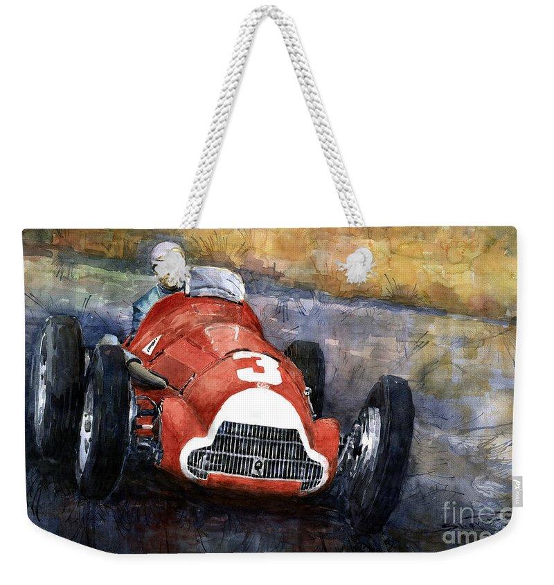 Alfaromeo158 Weekender Tote Bag featuring the painting Alfa Romeo158 British Gp 1950 Luigi Fagioli by Yuriy Shevchuk