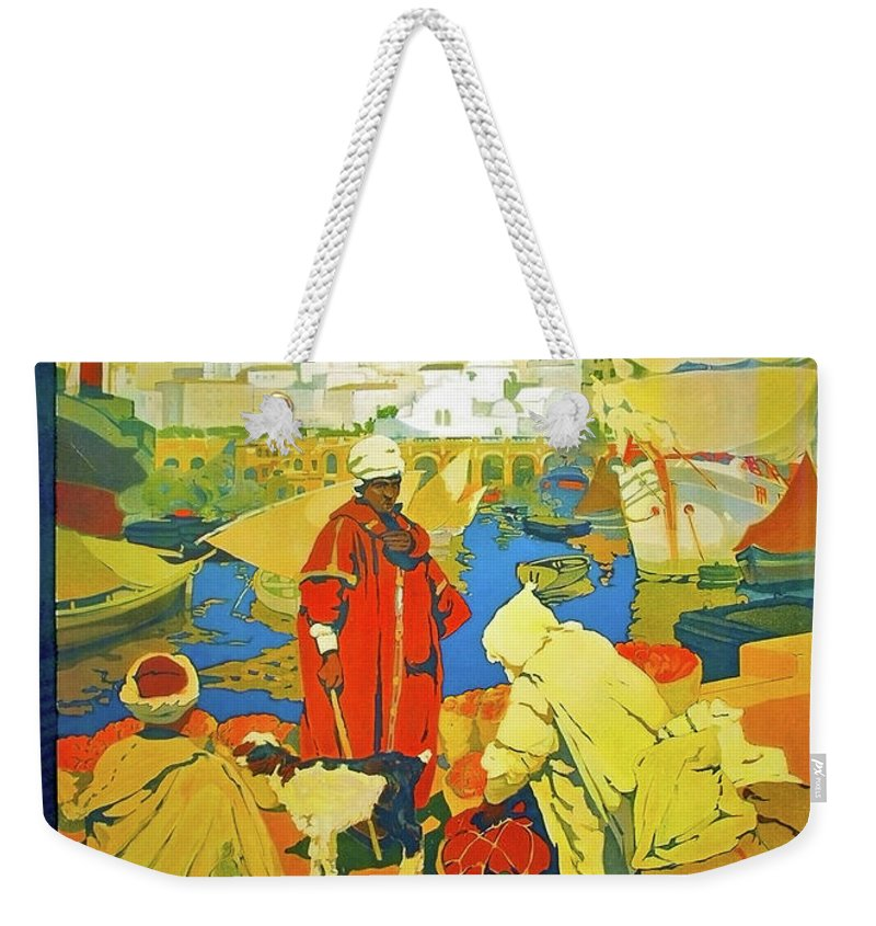 Algeria Weekender Tote Bag featuring the painting Algeria, Traditional Market, Tourist Advertising Poster by Long Shot