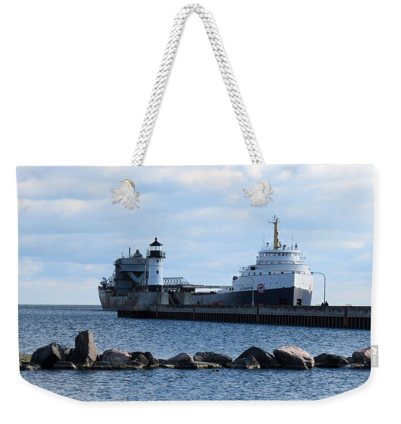 Lake Superior Weekender Tote Bag featuring the photograph Algomarine by Alison Gimpel