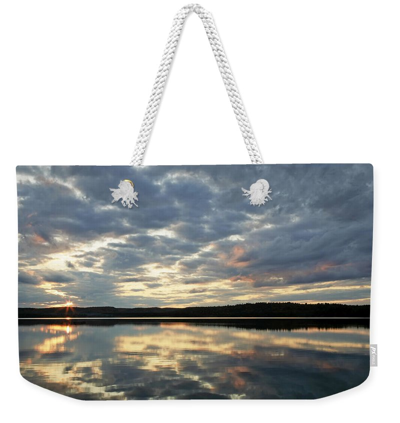 Landscape Weekender Tote Bag featuring the photograph Algonquin Lake Sunset by Phill Doherty