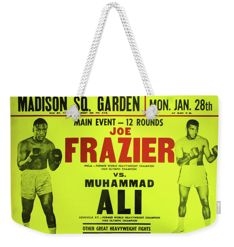 Ali Weekender Tote Bag featuring the photograph Ali Vs Frazier Boxing Poster by Digital Reproductions