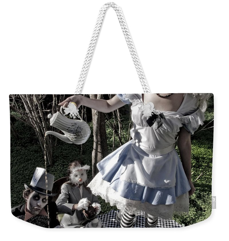 Alice In Wonderland Weekender Tote Bag featuring the photograph Alice And Friends 1 by Kelly Jade King
