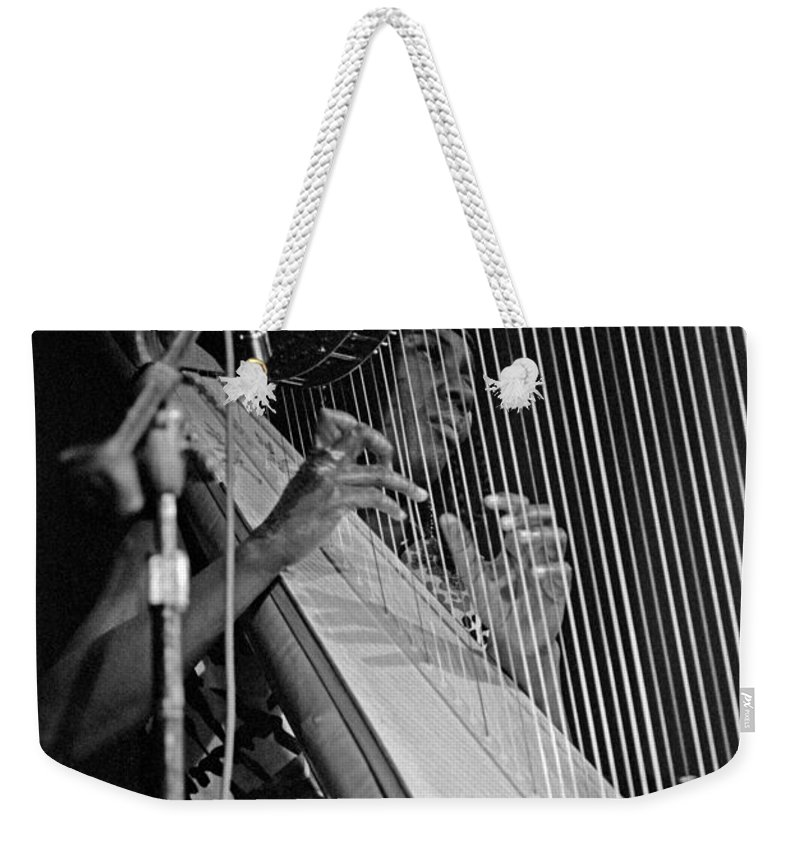 Coltrane Weekender Tote Bag featuring the photograph Alice Coltrane On Harp by Lee Santa