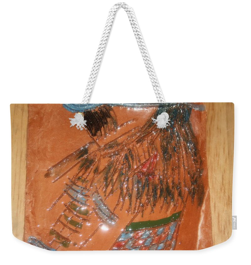 Jesus Weekender Tote Bag featuring the ceramic art Alicia - Tile by Gloria Ssali