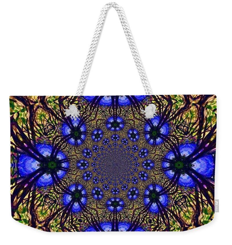 Blue And Yellow Weekender Tote Bag featuring the digital art Blue Abstract by Anne Sands