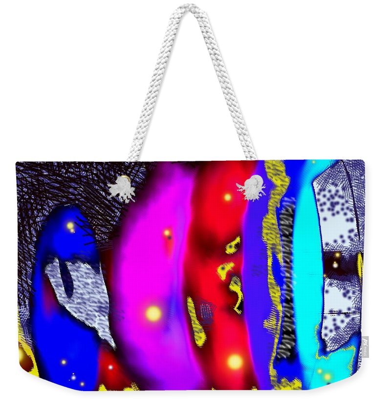 Abstrct Weekender Tote Bag featuring the digital art Alien Art Forms by Ian MacDonald