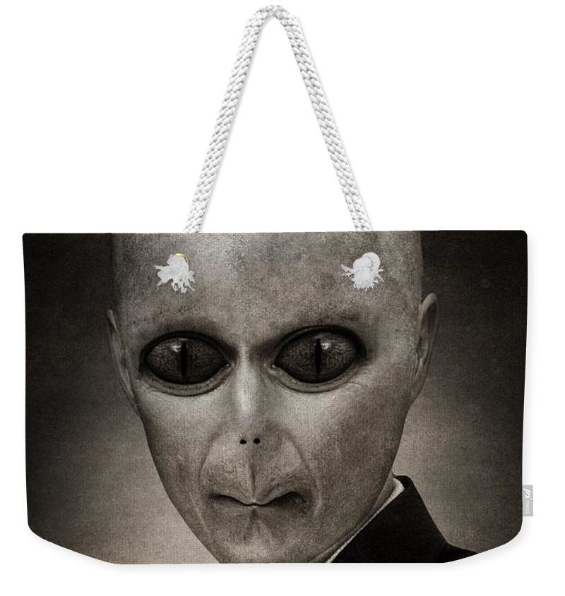 Military Invasion Weekender Tote Bag featuring the painting Alien by FL collection