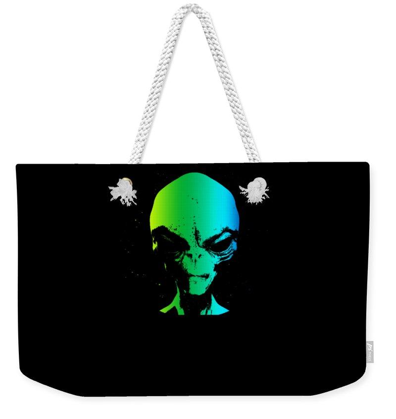 Abduction Weekender Tote Bag featuring the digital art Alien Grey Head Blue Green by Neela Bell