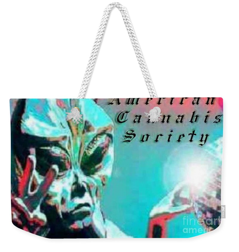 Alien Weekender Tote Bag featuring the digital art Alien by Michelle S White