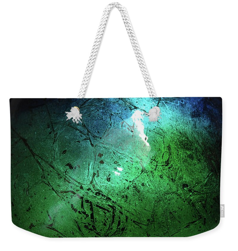 Green Weekender Tote Bag featuring the painting Alien Planet by Jerry McElroy