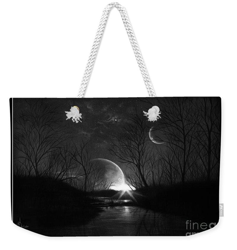 Pencil Weekender Tote Bag featuring the drawing Alien Skies by Murphy Elliott