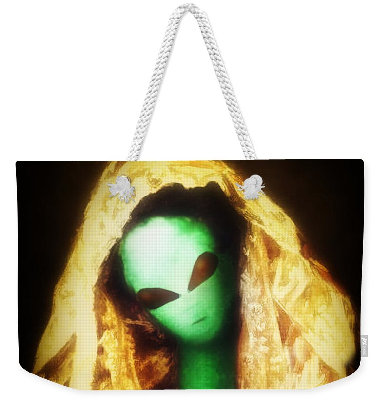 Cassatt Weekender Tote Bag featuring the painting Alien Wearing Lace Mantilla by Gravityx9 Designs