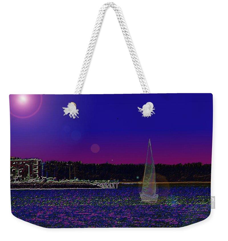 Seattle Weekender Tote Bag featuring the digital art Alki Ghost Sail by Tim Allen