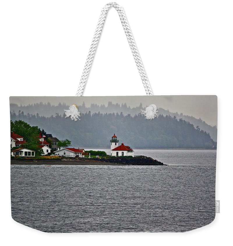 Lighthouse Weekender Tote Bag featuring the photograph Alki Point by Diana Hatcher