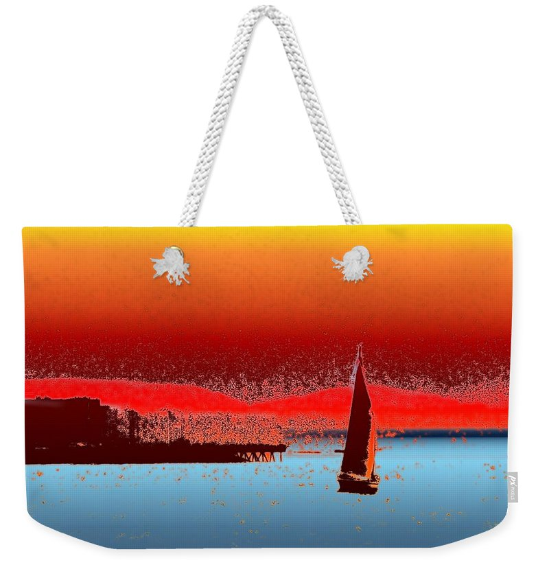 Seattle Weekender Tote Bag featuring the photograph Alki Sail 3 by Tim Allen