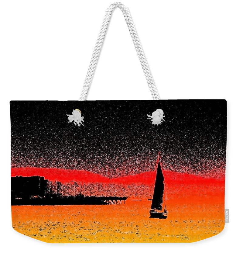 Seattle Weekender Tote Bag featuring the photograph Alki Sail by Tim Allen