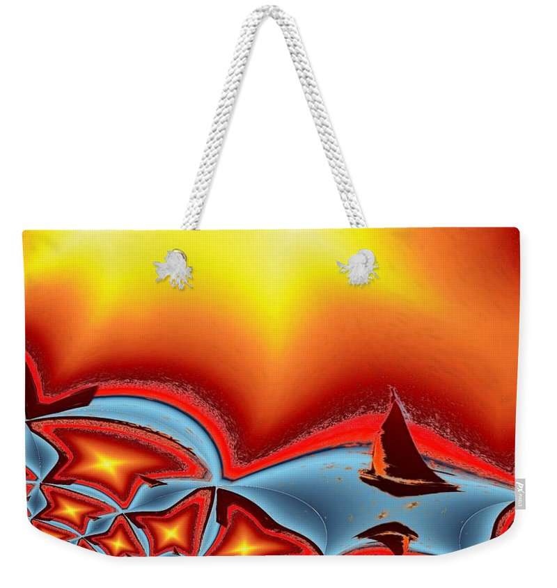 Sail Weekender Tote Bag featuring the photograph Alki Sail Under The Sun 2 by Tim Allen