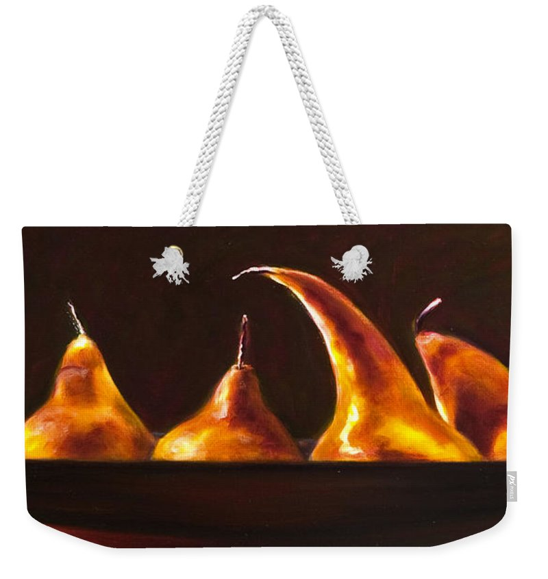 Pears Weekender Tote Bag featuring the painting All Aboard by Shannon Grissom