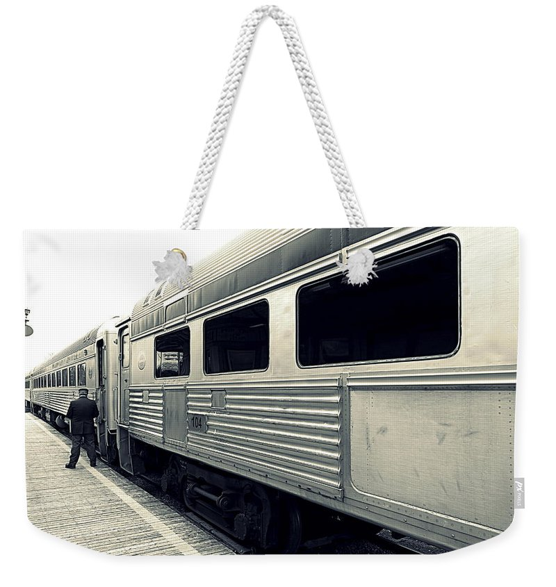 Old Weekender Tote Bag featuring the photograph All Aboard by Valentino Visentini