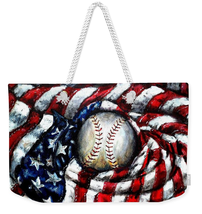 America Weekender Tote Bag featuring the painting All American by Shana Rowe Jackson