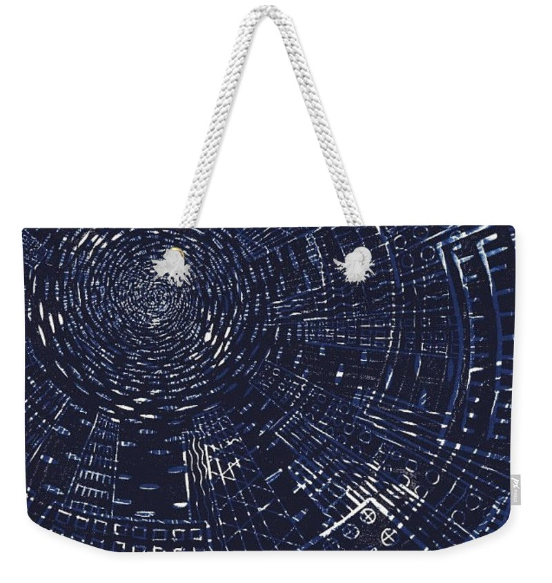 Lino Cut Weekender Tote Bag featuring the mixed media All Around In Blue And Black by Igallery Prints