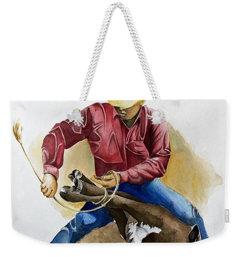 Calf Weekender Tote Bag featuring the painting All Cinched Up by Jimmy Smith