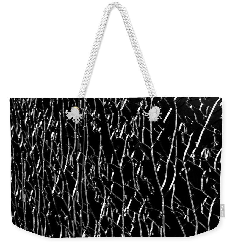 Shattered Glass Weekender Tote Bag featuring the digital art All Cracked Up by Mia DeBolt