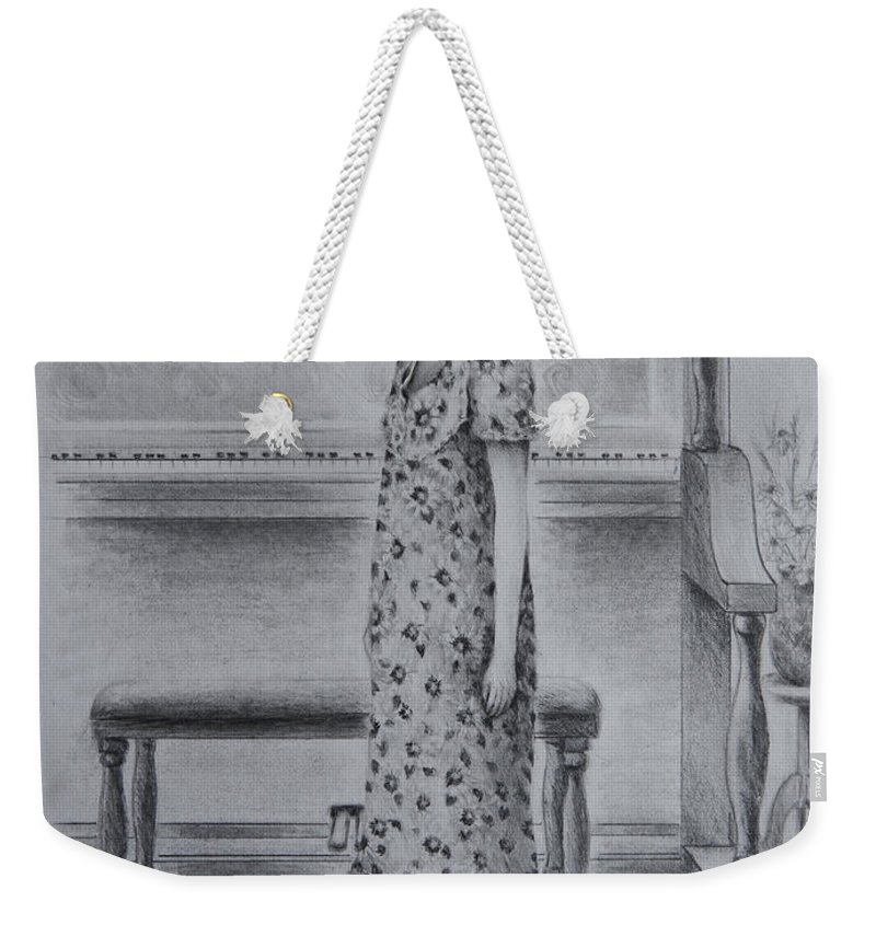 Figure Weekender Tote Bag featuring the drawing All Dressed Up by Rachel Christine Nowicki