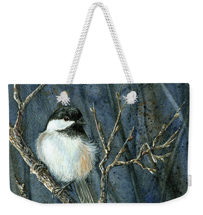 Bird Weekender Tote Bag featuring the painting All Fluffed Up by Cheryl Johnson