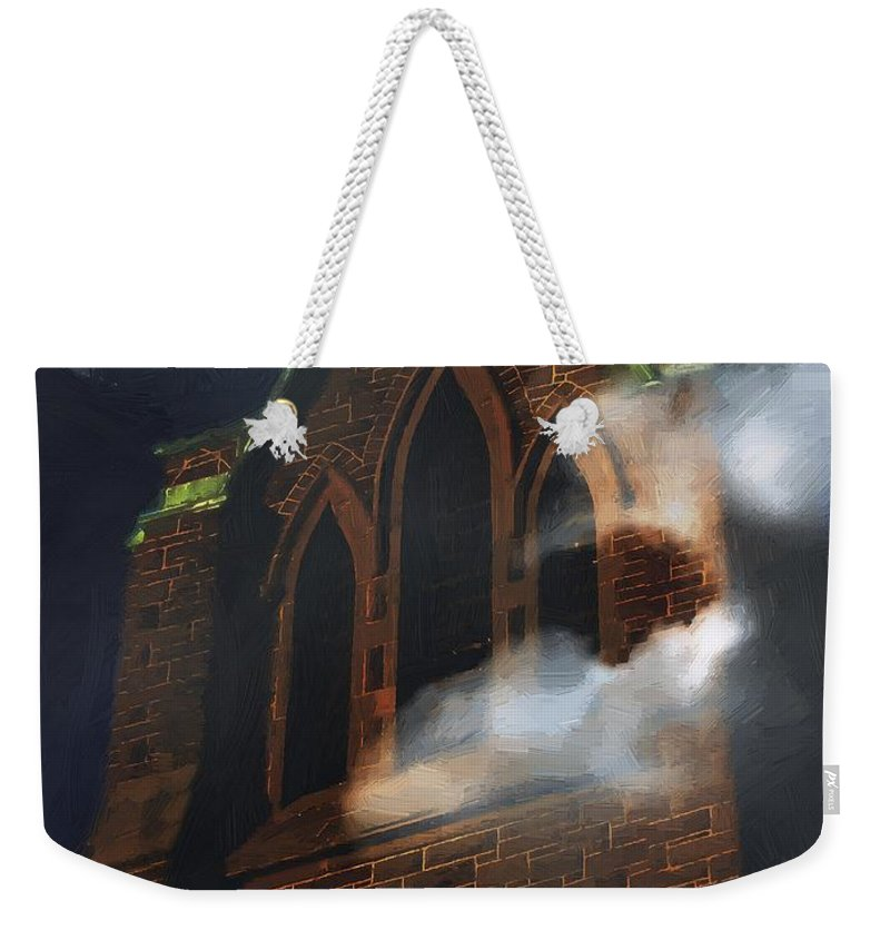 Church Weekender Tote Bag featuring the painting All Hallows by RC DeWinter