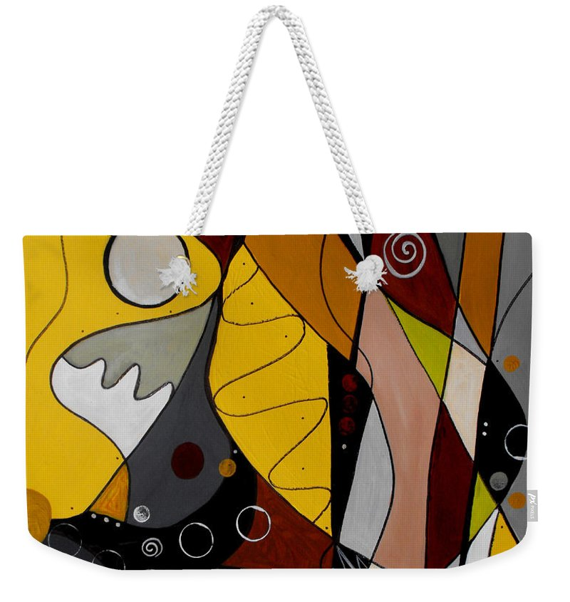 Abstract Weekender Tote Bag featuring the painting All Hands On Deck by Ruth Palmer