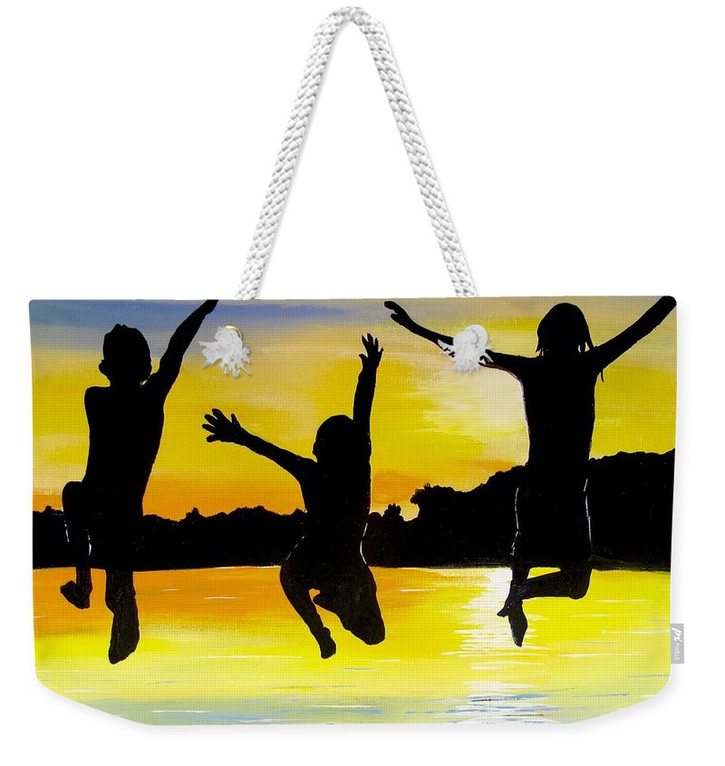 Sunset Painting Weekender Tote Bag featuring the painting All In by Carol Blackhurst