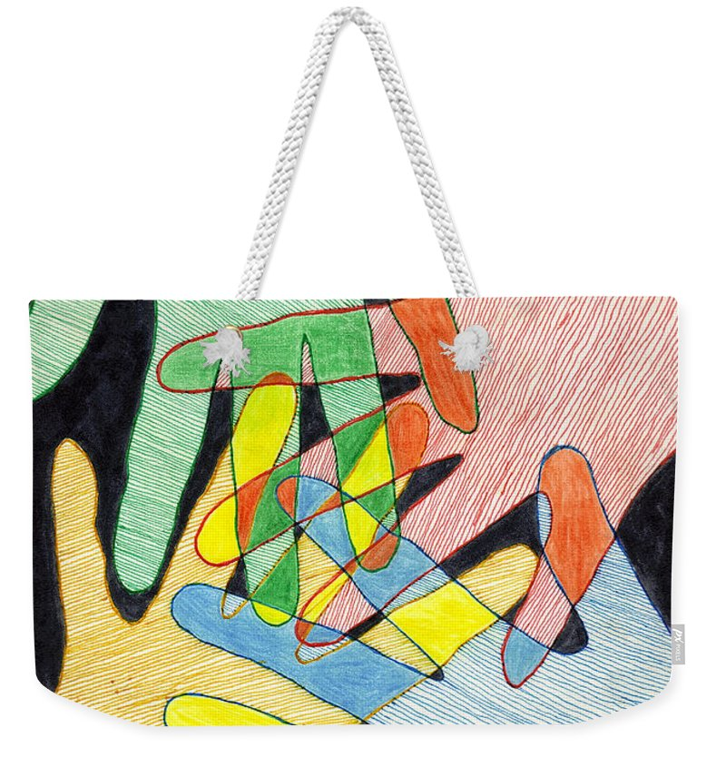 Hands Weekender Tote Bag featuring the mixed media All In by Jean Haynes