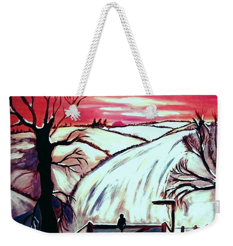 Landscape Weekender Tote Bag featuring the painting All is Calm..... by Rusty Gladdish