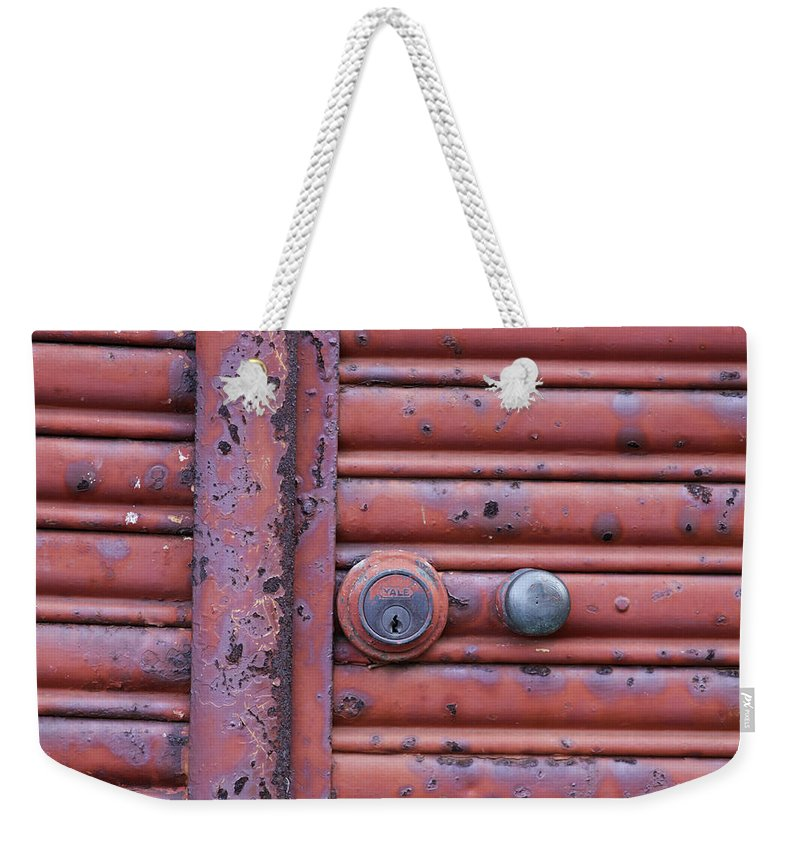 Lock Weekender Tote Bag featuring the photograph All Locked Up by Stephen Mitchell