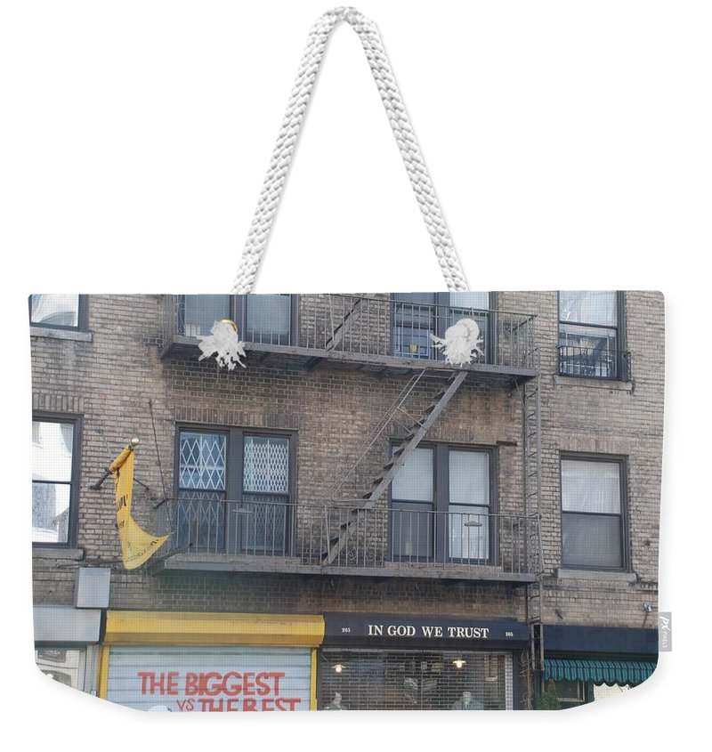 New York City Weekender Tote Bag featuring the photograph All Others Pay Cash by Rob Hans