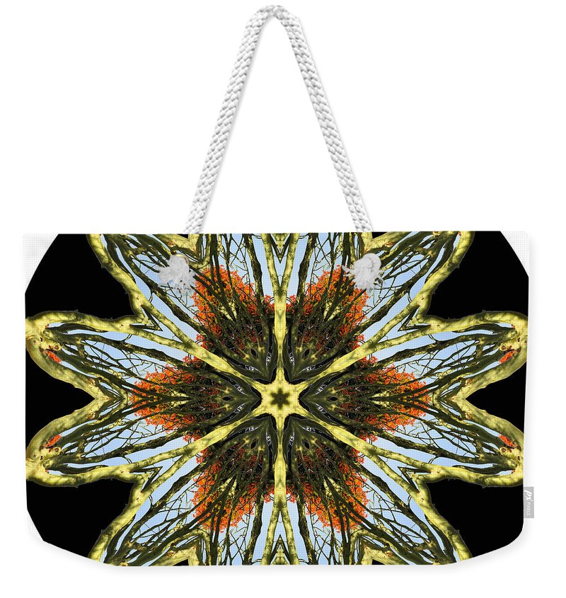 Kaleidoscope Weekender Tote Bag featuring the digital art All Set About With Fever Trees by MSB Lane