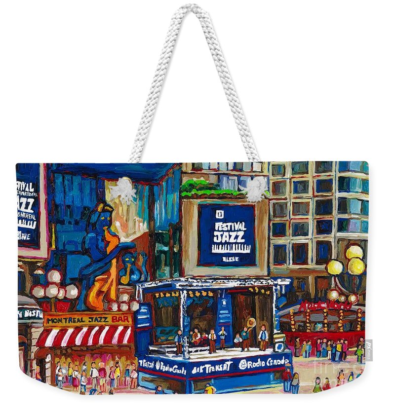Montreal Weekender Tote Bag featuring the painting All That Jazz by Carole Spandau