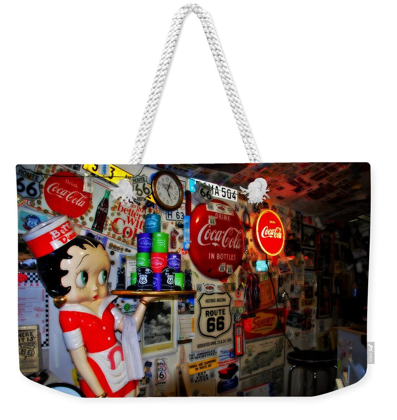 Route 66 Weekender Tote Bag featuring the photograph All The Souvenirs Of Route 66 by Susanne Van Hulst