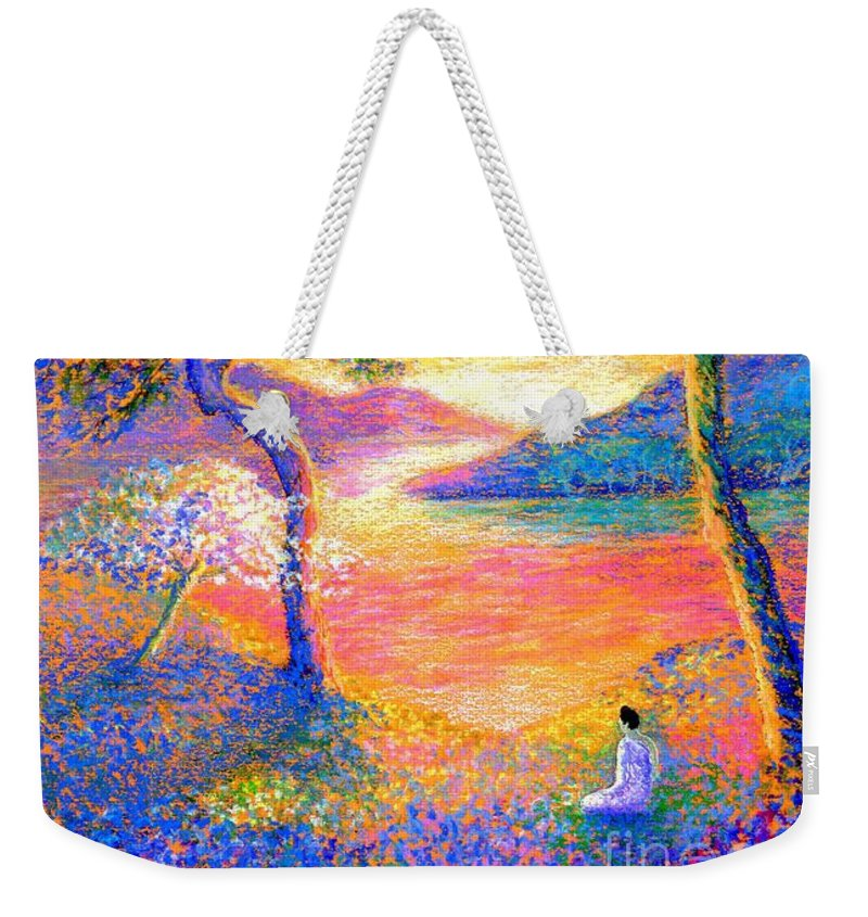 Meditation Weekender Tote Bag featuring the painting Buddha Meditation, All Things Bright And Beautiful by Jane Small