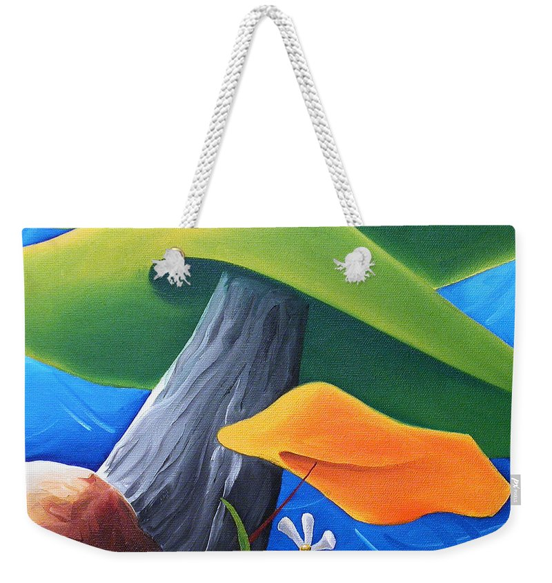 Landscape Weekender Tote Bag featuring the painting All Under One Roof by Richard Hoedl